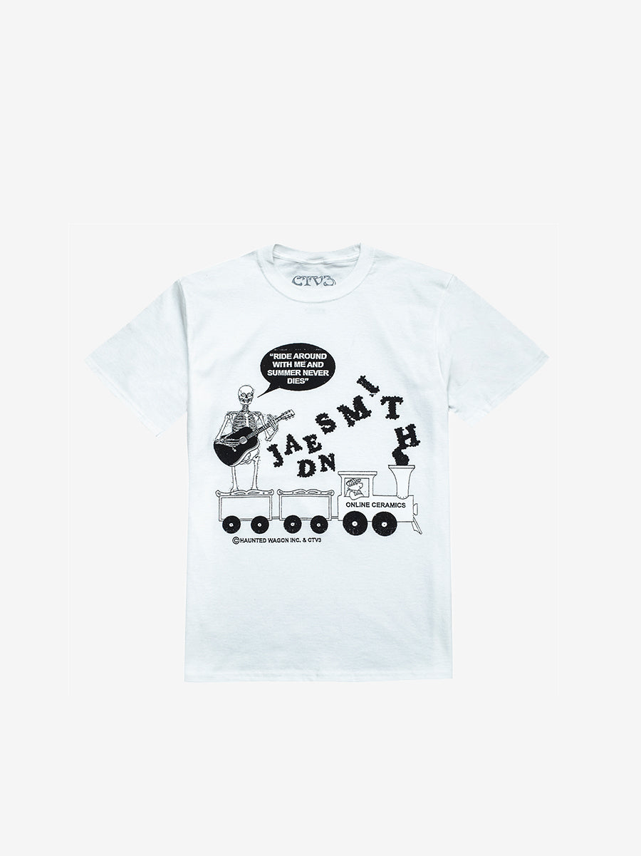ONLINE CERAMICS X CTV3 RIDE AROUND WITH ME T-SHIRT, WHITE