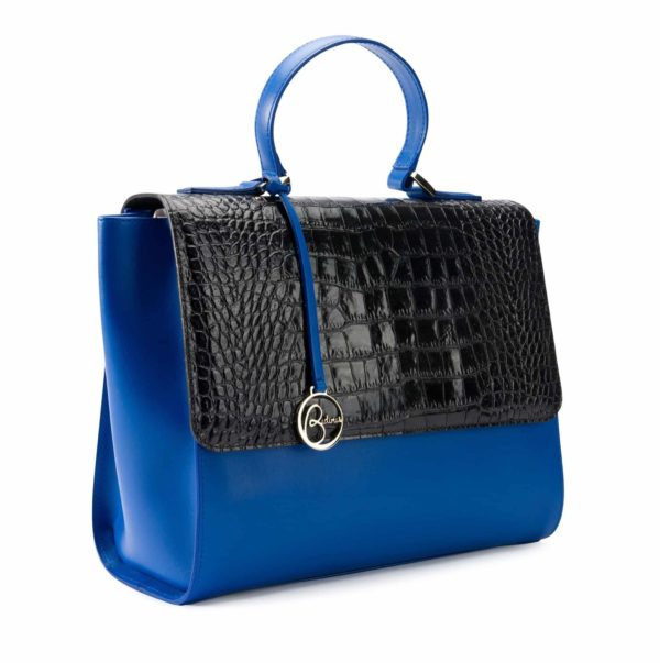 Borsa Top Handle in pelle stampa coccodrillo