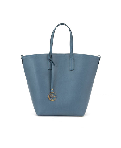Image of Frida X bucket leather bag retro powder blue