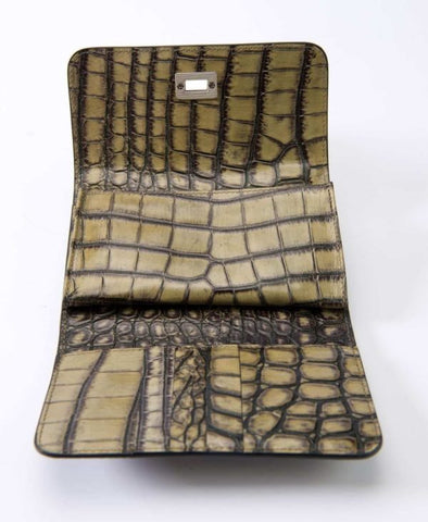 Image of Leather purse crocodile embossed olive green