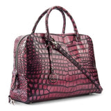 Briefcase leather bag crocodile embossed pink