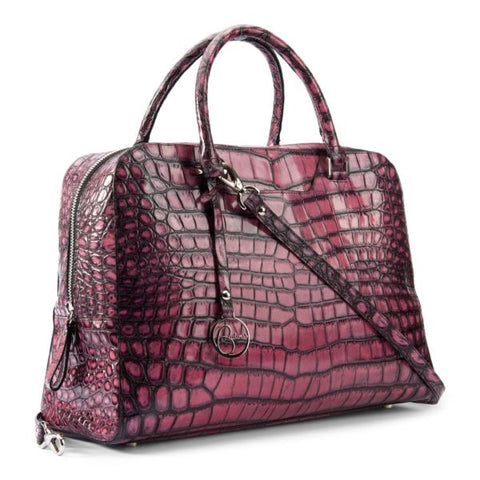Image of Briefcase leather bag crocodile embossed pink