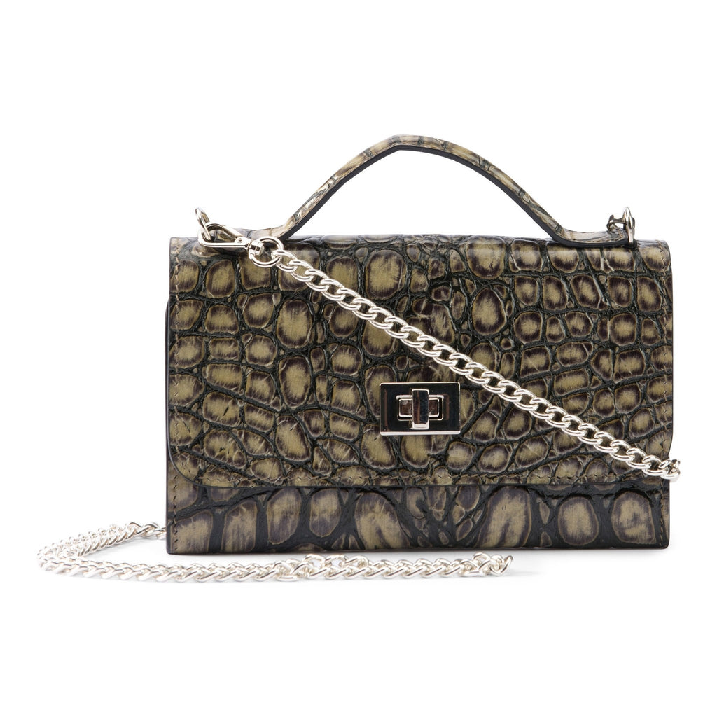 Leather purse crocodile embossed olive green