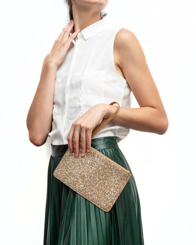 Glitter and Leather Purse tan and gold colour