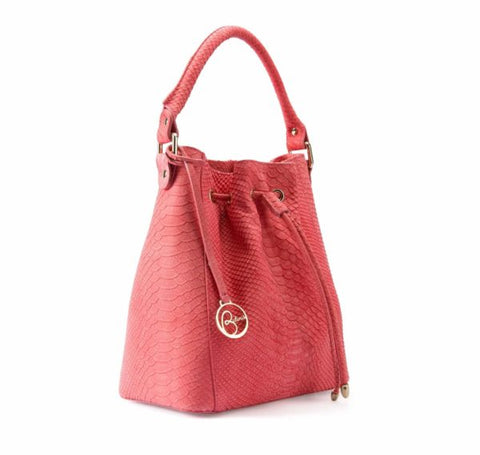 Leather bucket bag python effect