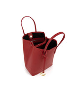 Frida X bucket leather bag deep red