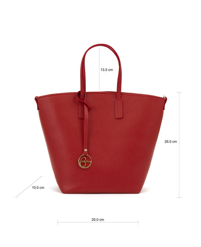 Image of Frida X bucket leather bag deep red
