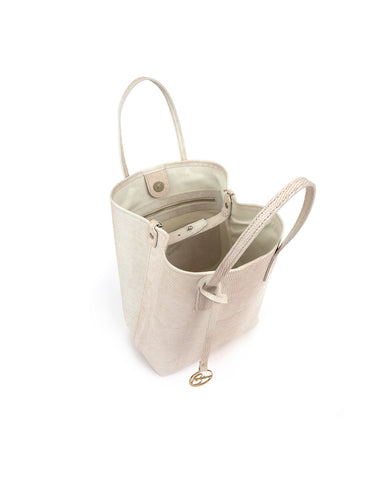 Frida X Bucket Leather Bag Lizard Vintage White