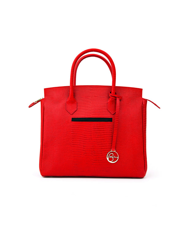 Luigia Leather Bag Lizard Print red