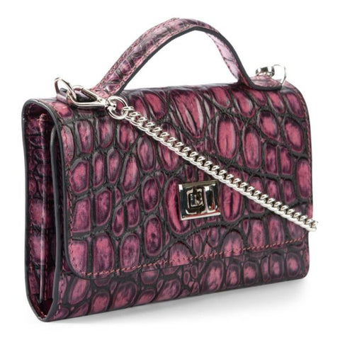 Image of Leather purse crocodile embossed pink