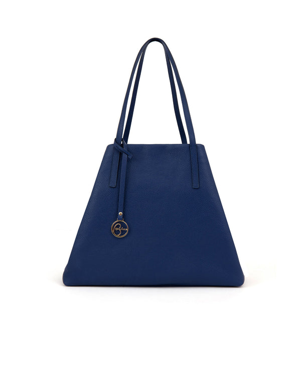 Borsa tote Frida in pelle blu denim