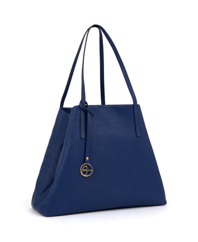 Frida tote leather bag blue denim