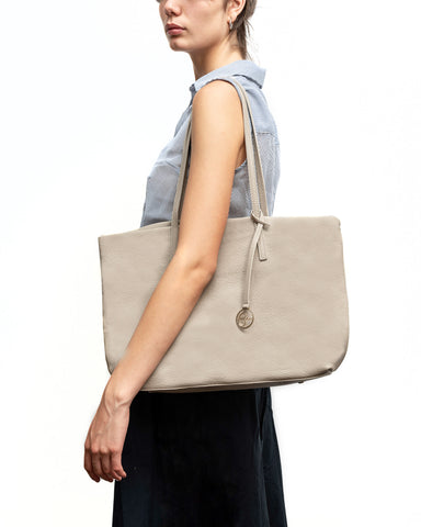 Image of Frida tote leather bag linen grey
