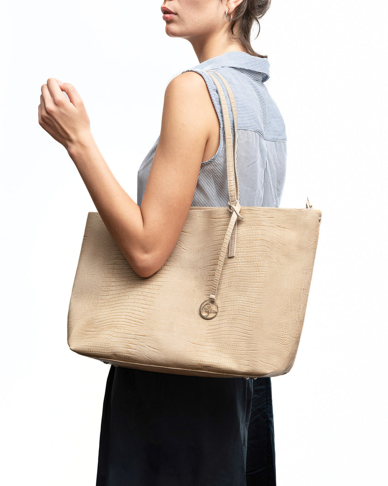 Frida Tote Leather Bag lizard sand