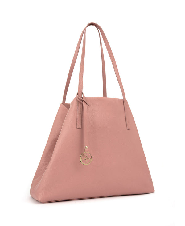 Borsa tote Frida in pelle rosa bubblegum