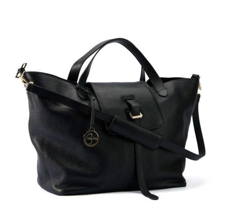Shopping leather bag black