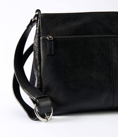 Leather men's messenger black