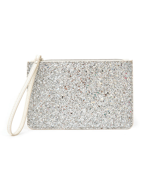 Glitter and Leather Purse off-white and silver colour