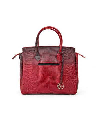Image of Luigia Leather Bag Lizard Print degraded red