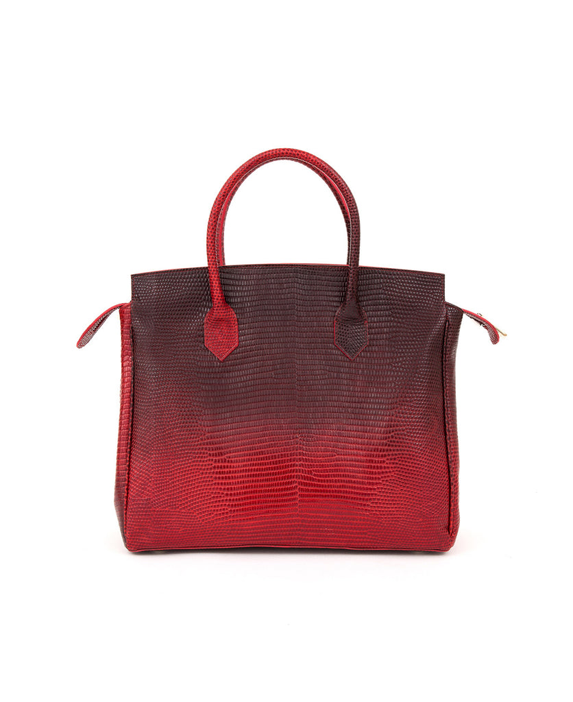 Luigia Leather Bag Lizard Print degraded red