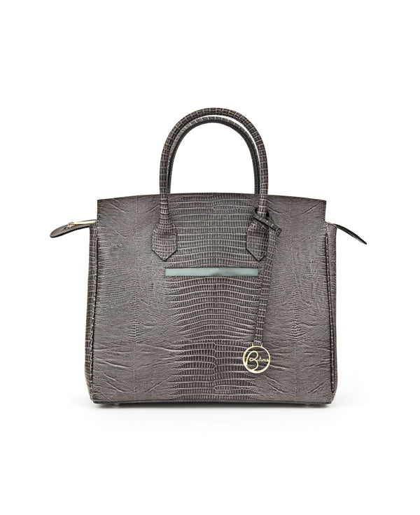 Luigia Leather Bag Lizard Print dark grey