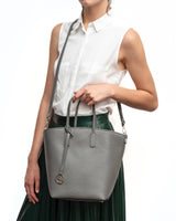 Frida X bucket leather bag crocodile black