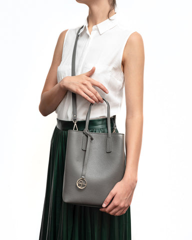 Image of Frida X Bucket Leather Bag Asphalt Grey