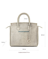 Luigia Leather Bag Lizard Print light grey