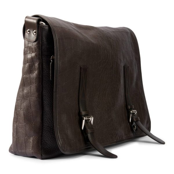 Leather men's messenger brown
