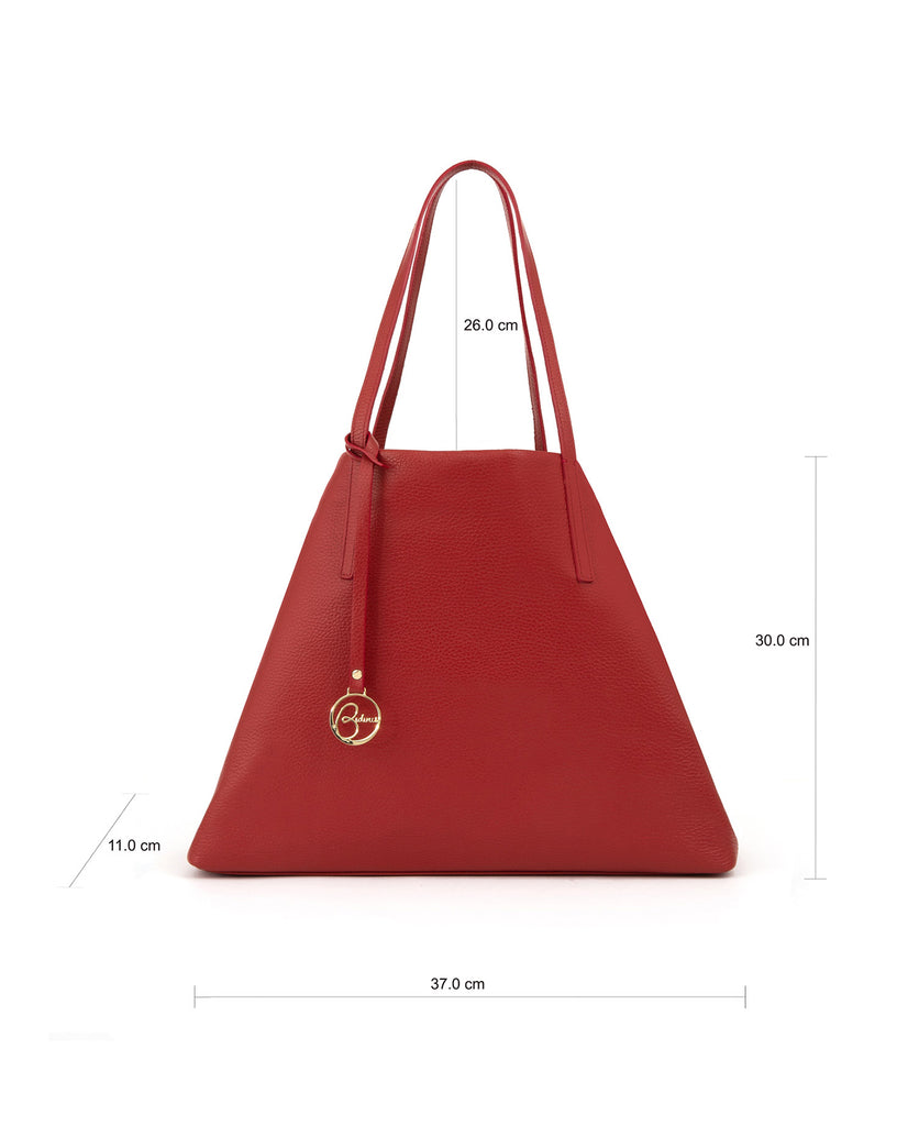 Frida tote leather bag deep red