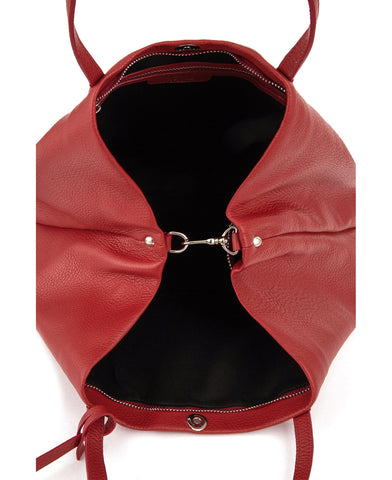 Image of Frida tote leather bag deep red