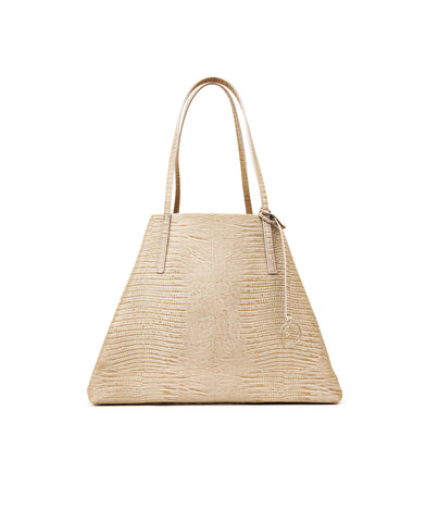 Image of Frida Tote Leather Bag lizard sand