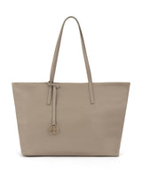 Frida tote leather bag linen grey