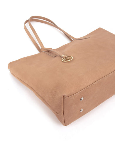 Image of Frida Tote Leather Bag Suede Blush