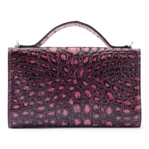 Leather purse crocodile embossed pink