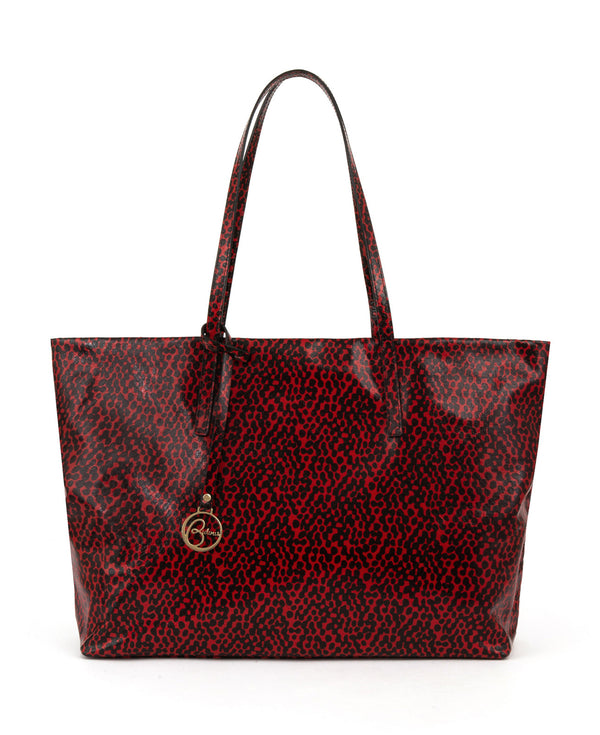 Frida tote leather bag spotted red and black