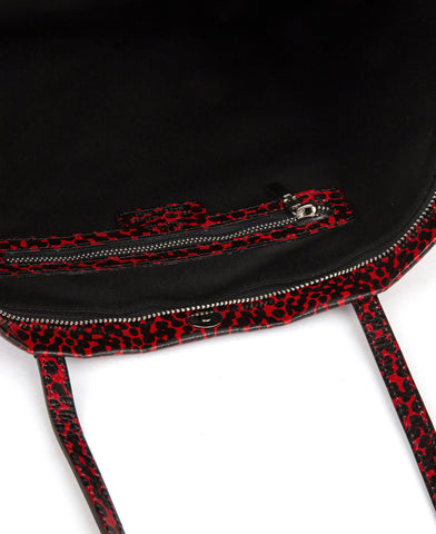 Image of Frida tote leather bag spotted red and black