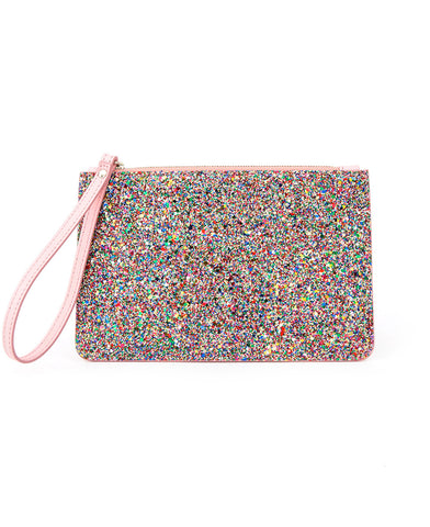 Glitter and Leather Purse pink and rainbow colour