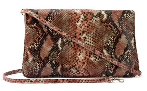 Image of Leather clutch in pink snake print