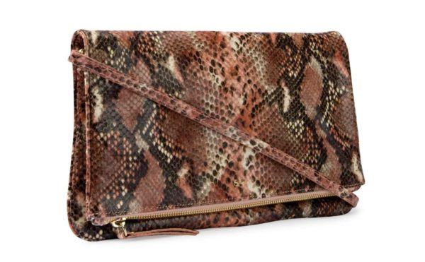 Leather clutch in pink snake print