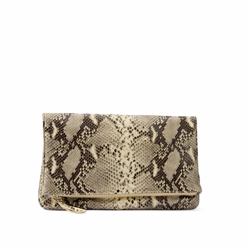 Leather clutch in beige snake print