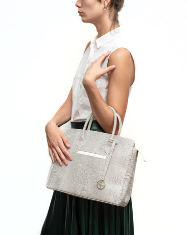 Image of Luigia Leather Bag Lizard Print black and white