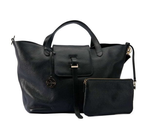 Shopper leather bag black
