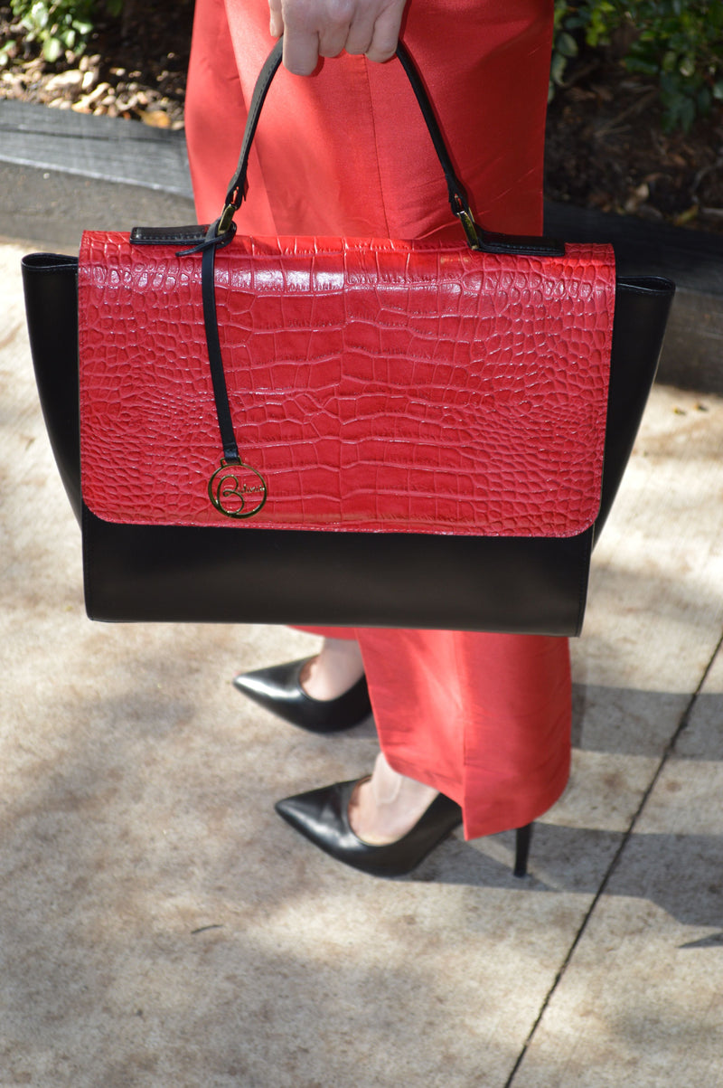 Top Handle leather bag crocodile print