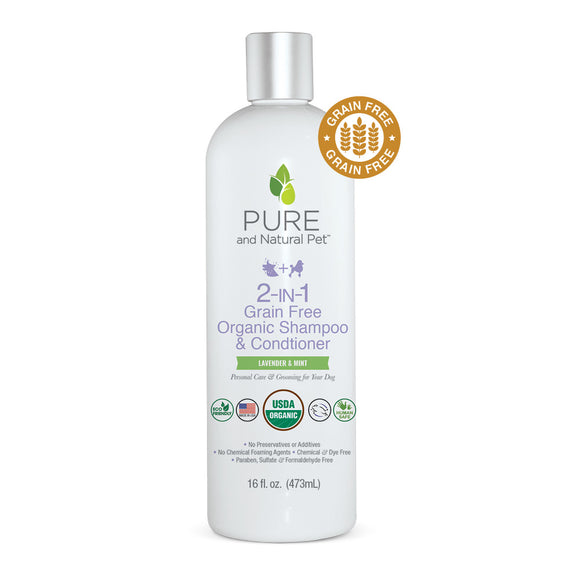 2-In-1 Grain Free Organic Shampoo & Conditioner (Lavender & Mint) - Pure and Natural Pet