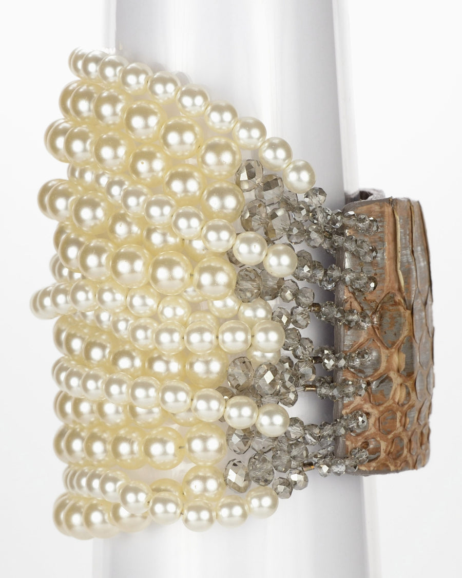 "Chunky All Pearl Cuff 2"", Ivory"