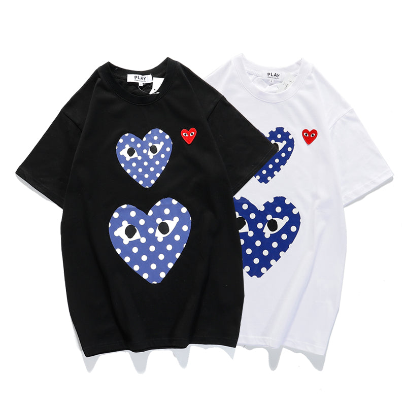 Heart print crew neck T-shirt