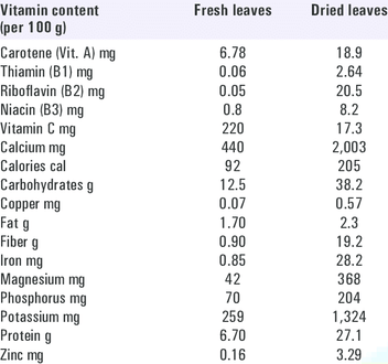 A table showing vitamin content of moringa leaves