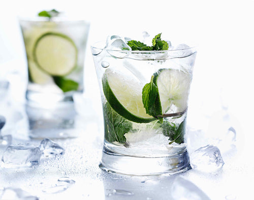 Two drinks with clear liquid, lime, mint and ice in short glasses.