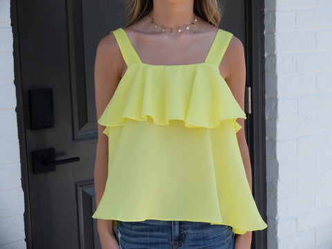 Lemon Thick Strap Ruffle Top